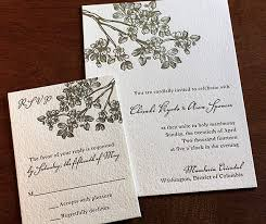 Cherry Blossom Branches Letterpress Rustic Garden Wedding Invitation