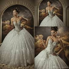 2015 lace ball gown wedding dresses with rhinestones sweetheart