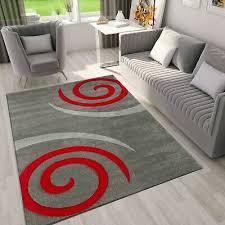 teppich grau mit roten kreisel muster