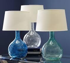 Pottery Barn Sea Glass Bathroom Accessories by Eva Colored Glass Table Lamp Pottery Barn