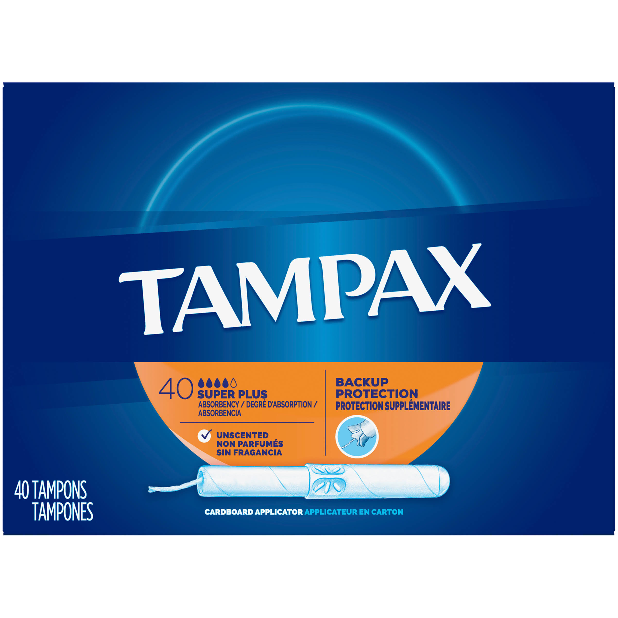 Tampax Tampons With Anti-Slip Grip Cardboard Applicator - Super Plus, 40 Tampons