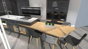 cuisine avec ilots cuisine moderne avec îlot phénix gris anthracite et bois