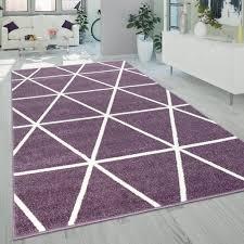 kurzflor wohnzimmer teppich lila pastell geometrisches design rauten muster grösse 200x280 cm