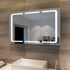 sonni bad spiegelschrank 3 türig 105 x 65 cm spiegelschrank bad mit beleuchtung und steckdose badezimmerspiegel led spiegelschrank mit kippschalter