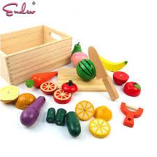 jeu de cuisine pour gar輟n endev bébé en bois simulation couper les légumes fruits jeu