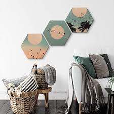 k l wall hexagon holzbild set 3 wandbilder wohnzimmer