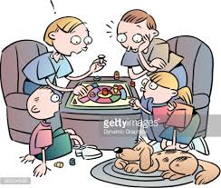 Family Playing Board Game Clipart