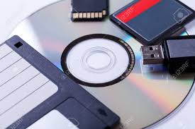 Selection Of Different Computer Storage Devices For Data And Information Including A CD DVD