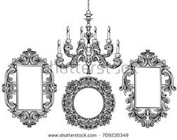 Baroque Chandelier And Mirror Frames Detailed Rich Ornament Vector Illustration Graphic Line Art