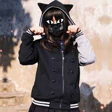 cat hoodies black cat sweatshirts with ears for creative animal