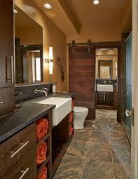 Rustic Industrial Bathroom Mirror by Bathrooms Industrial Bathroom With Brick Wall And Wood Cabinet