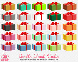 28 Colorful Present Clipart Birthday Gift Box Christmas Present Party Stickers Icon with Transparent Background Personal & mercial Use