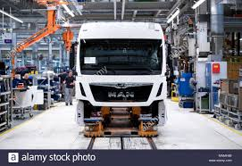 100 Truck And Bus 16 May 2018 Germany Munich Employees Of MAN Work On A