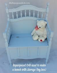 crib repurposed to bench with storage toy box my repurposed life