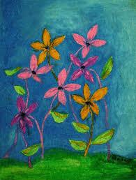Spring Flowers Original Oil Pastel Drawing On 9x12 By CapArtShop