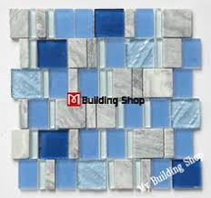 Thinset For Glass Mosaic Tile by Features Glass Mosaic Tile Finish Blue Mildew Resistant