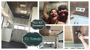 RV Remodel Vinyl Wood Plank Ceiling Completed