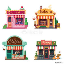 Drawings Vector Set Of Nice Shops Different Showcases Bakery Candy Store Pizza