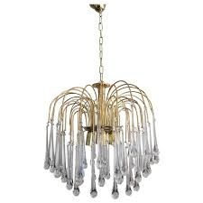 Vintage Mid Century Chandelier Murano Teardrop Crystals at 1stdibs