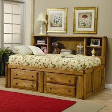 Rustic Twin Bed Frame With Storage And Bookcase On The Headboard