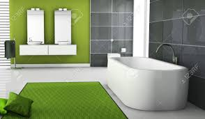 home interior eines modernen grünen badezimmer mit zeitgenössischer badewanne design schwarz granit fliesen kissen und weißen boden 3d rendering