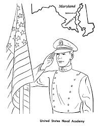 Veterans Day Coloring Pages Saluting Flag