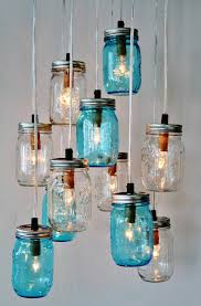 jar cluster chandelier upcycled hanging jar lighting