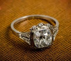 Vintage White Gold Cushion Cut Diamond Engagement Ring