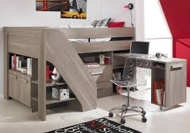 stunning cool kids beds design with gray wooden loft bed frame