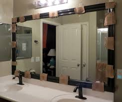 Unique Bathroom Mirror Frame Ideas Large Bathroom Mirror Frame Ideas ... Mirror Ideas For Bathroom Double L Shaped Brown Finish Mahogany Rustic Framed Intended Remodel Unbelievably Lighting White Bath Oval Mirrors Best And Elegant Selections For 12 Designs Every Taste J Birdny Luxury Reflexcal Makeover Framing A Adding Storage Youtube Decorative Trim Creative Decoration Fresh 60 Unique