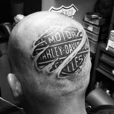 Guys Back Of Head Torn Skin Harley Davidson Tattoo Design Inspiration