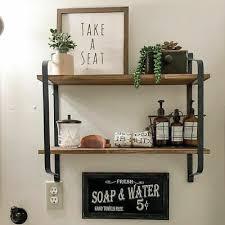 vintage wandregal holz metall hängeregal 2 ablage bad küchen