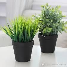 großhandel 12 stücke 23 cm künstliche gräser topfpflanzen faux gefälschte pflanzen grün für hausgarten outdoor indoor büro badezimmer ornamente