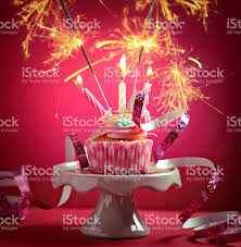 birthday cupcake with candles and sparklers stock photo istock 1024x1047