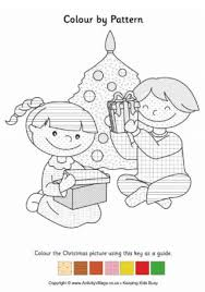 Christmas Children Colour By Pattern
