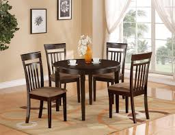 Traditional Dining Room With Dark Brown Round Solid Wood Table Set Under 200 Wooden High