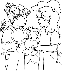 Kindness Is Sharing Toys With Friend Together Colouring Page Coloring