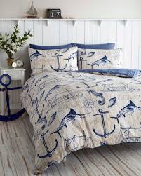 Navy And White Striped Curtains Amazon by Wharf Boat Ship Waves Nautical Anchor Super King Duvet Quilt Cover