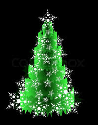 Green Christmas Tree With White Snow Flakeson The Black Background