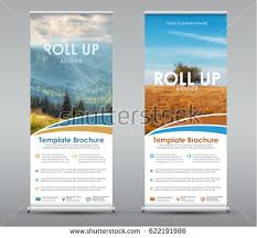 Template Universal Roll Up Banner For Business Or Travel Design A Vertical Brochure With Mountains