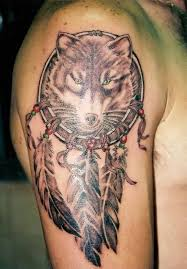 Dangerous Wolf Dream Catcher Tattoo Design Make On Upper Sleeve For Handsome Cool Men