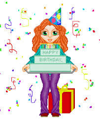 girl carrying a birthday cake wityh animated confetti