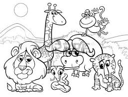 Black And White Cartoon Illustration Of Scene With Wild African Animals Characters Group For Coloring Book