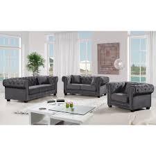 Tufted Velvet Sofa Bed by Meridian Furniture 614grey S Bowery Grey Tufted Velvet Sofa W