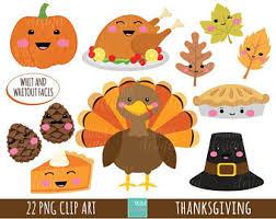 SALE THANKSGIVING clipart mercial use turkey clipart kawaii clipart cute
