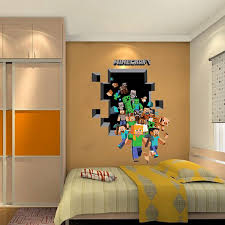 2017 New Minecraft 3D Wall Sticker For Kids Room Wallpaper Home Decoration Game Enderman