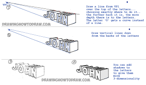 Learn 3D Drawing How To Draw 3 Dimensional Letters With 2 Point