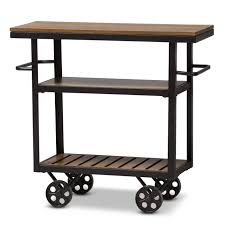 Kennedy Rustic Industrial Style Antique Black Textured Finished Metal Distressed Wood Mobile Serving Cart