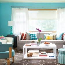 Turquoise Living Room Color Schemes With White Curtains And Orchid Also Cushion