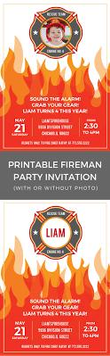 Printable Fireman Birthday Party Invitation - Merriment Design